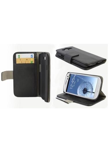 Microsonic Cüzdanlı Standlı Deri Kılıf - Galaxy S3 İ9300 Siyah Renkli